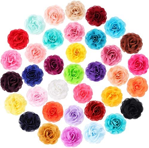 36 Pieces Dog Collar Flowers Pet Bow Tie Flower Collars Multicolored Pet Charms Flowers for product image