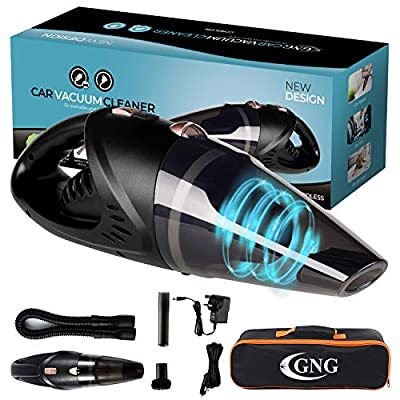 GNG Handheld Vacuum Cleaner 12v Portable Cordless Vacuum with Car & Wall Rechargeable Lithium-ion, Black Detailing Vacuum Cleaners for Wet and Dry Furniture, Dust Buster, Carpets, Floors, Vehicles