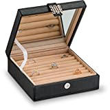 Ring Box Organizer - 54 Slot Classic Jewelry Display Case Holder - Storage Tray with Modern Buckle Closure, Large Mirror - Holds Rings and Cufflinks - Small for Travel - PU Leather - Black by Glenor Co ® travel case Mar, 2021