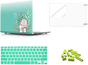 MMDW 4 in 1 Plastic PC Hard Case Shell &Keyboard Cover&Screen Protector&Dustproof Plug Compatible MacBook Pro(W/O USB-C) Retina 13 Inch(A1502/A1425)(W/O CD-ROM) 2015/2014/2013/end 2012,Cute Elephant