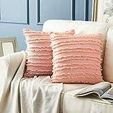 OMMATO Funda de cojín de 60 x 60 cm con borla decorativa de estilo bohemio para sofá, dormitorio, salón, color rosa, juego de 2 unidades