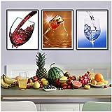 Impression sur toile Mur de verre à vin Art Affiches et estampes Aquarelle Décoration Toile Peinture Style Nordique Peintures -50x70cm No Frame