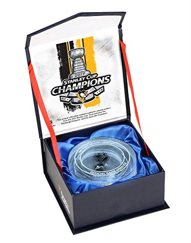 Pittsburgh Penguins 2017 Stanley Cup Champions Crystal Puck - Filled With Ice From the 2017 Stanley Cup Final