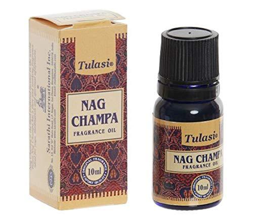 Aceite esencial aromaterapia de Nag Champa. Bote azul de cristal. Tapón de rosca con dosificador. 10 ml.