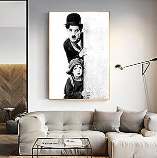 REDWPQ Mur Art Rétro Style Affiches De Film Et Estampes en Noir Et Blanc Charlie Chaplin Art Toile Peinture pour Le Salon ...