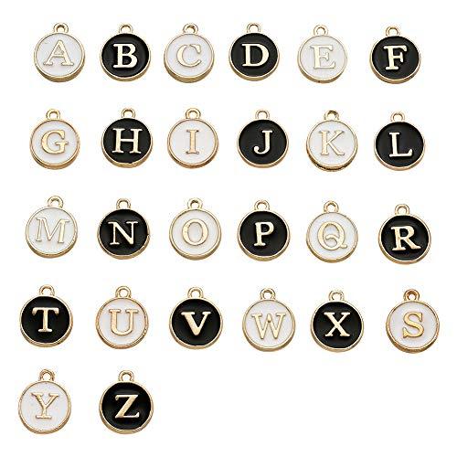 Craftdady - Ciondoli a forma di lettera maiuscola, con lettere maiuscole, 52 pezzi, colori misti, per la creazione di gioielli, foro da 1,5 mm
