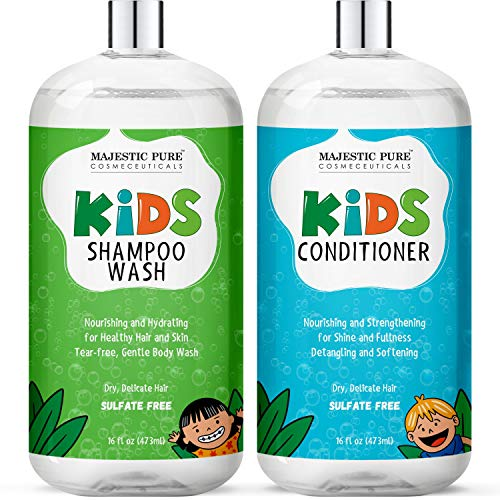 MAJESTIC PURE Kids Shampoo and Conditioner Set, Tear Free - with 2-in-1 Body Wash & Shampoo - Tangle Free, Moisturizing and Nourishing Formula, Sulfate Free, 16 x 2 fl oz