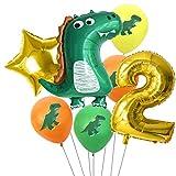 Haosell Dino Globos de cumpleaños 2 años, gran dinosaurio, decoración de cumpleaños para niños, dinosaurio verde, globo multicolor, decoración de cumpleaños para niños, dinosaurios