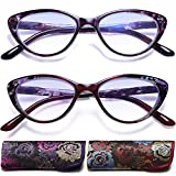 Cat eye Reading Glasses for Womens - 2 Pairs Blue Light Blocking Readers +2.0 Computer Prescription Eyewear with Spring Hinge Choose Your Strength