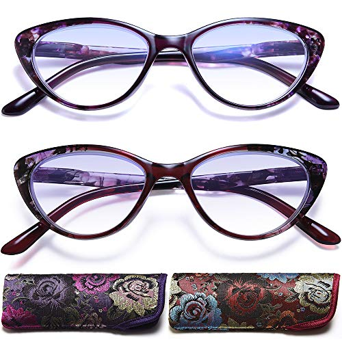 Cat Eye Reading Glasses for Womens - 2 Pack of Blue Light Blocking Readers +3.5 Spring Hinge Vintage Computer Eyeglass with Colorful Pattern Design