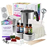 Complete DIY Candle Making Kit Supplies by CraftZee – Create Large Scented Soy Candles – Full Beginners Set Including 2 LB Wax, Rich Scents, Dyes, Wicks, Melting Pitcher, Tins & More