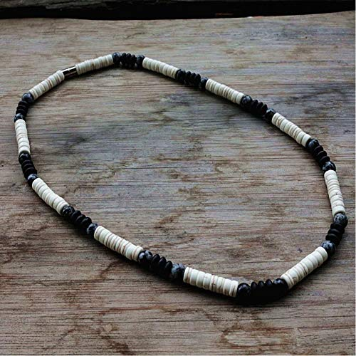 CXKEB Collar para Hombres Cuentas de Piedra Natural de 6 mm e imán Surfer Collar para Hombres joyería Tribal