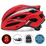 VICTGOAL 自転車 ヘルメット大人用 ロードバイク/サイクリング ヘルメット 超軽量 高剛性 LEDライト・男女兼用 ヘルメット通気 サイズ調整可能 57-61CM M/L (赤)