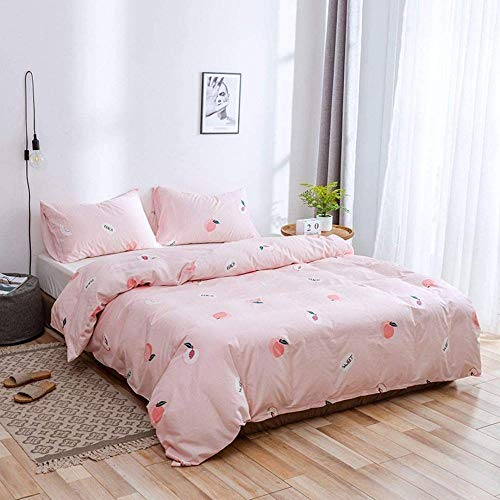 Rvvaceo Duvet Cover Set Microfiber Durable Fade Resistant Fabric-Include 1 Quilt Cover+2 Pillowcases-Soft Hypoallergenic, Easy Care Quilt Cover-Double (200 X 200 Cm) Pink Peach Print Simple Pattern