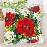 Kits de Gancho de retención for Adultos cojín Grande DIY Arte Hecho a Mano Hilo de Bordar Crafts Cruz Kits de Punto for los Adultos Flores niños 43 * 43cm (Size : with Pillow)