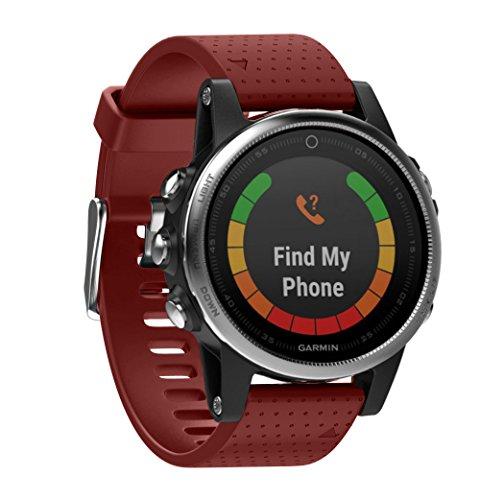 WIIKAI Bracelet Compatible avec Garmin Fenix 5s(20mm) Réglables Replacement Band pour for Garmin Fenix 5s(20mm) Wristband Bracelet de Montres(Rouge)