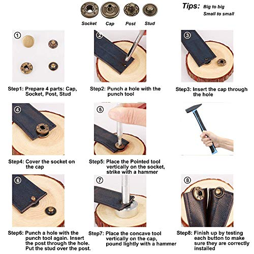 132 Sets Leather Snap Fasteners Kit, MSDADA 12.5 mm Metal Snaps Buttons Press Studs Tool with 4PCS Fixing Tools, Sewing Snaps for Clothes Leather Craft Bracelets Jeans Wears Jackets Bags Belt