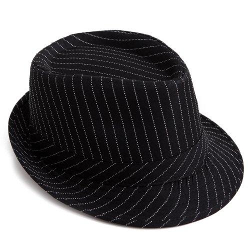 HDE Unisex Pattern Stingy Short Brim Gangster Cuban Style Fedora Hat Cap (Black Pinstripe)