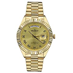 Gold dial with gold hands and Roman numerals Coin edge bezel Handsome all gold style Bubble date indicator window Adjustable fold over clasp