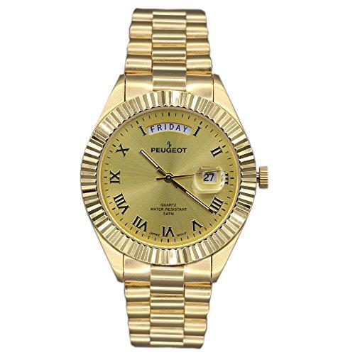 Peugeot Men's 1029G All Gold Coin Edge Bezel Watch