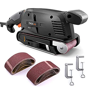 3 × 18-Inch Belt Sander with 13Pcs Sanding Belts, Tacklife Sanding Platform, with 9.84Ft(3M) Power Cord, Variable-speed Control, Fixed Screw Clamp, Dust Box, Vacuum Adapter - PSFS1A