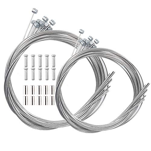 LSSH 10PCS Bike Brake Cable, Bicycle Brake Cable, Brake Cables for Bicycles,Mountain Bike and Road Bike, Bike Brake Cable Kit,Including 10 Cable End Crimps, 10 End Ferrules