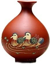 Teapot Handmade Ore Yixing Zhuni Micro Mini Mandarin Ducks Vase of Purple Flowers Into Hydroponic Plant Bottle TongLingUSL (Color : Zhu Mu)