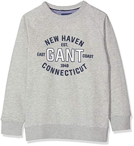 Preisvergleich Produktbild GANT Jungen D1 Logo C-Neck Sweat Sweatshirt,  Grau (Light Grey Melange 94),  146