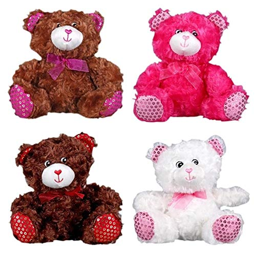 Happy Valentine's Day Bear Chocolate Scented Teddy Bears, 7-inch (Set of 4 - Brown, Tan, Pink, White) Fortune Cookie Bonus , Perfect for Class Party, Engagement, Proposal, Friend Givin