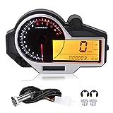 Yctze Medidor de motocicleta, universal multifunción LCD Calibrador Modificación Odómetro Velocímetro Tacómetro Retroiluminación colorida Instrumento mecánico integrado para motocicletas