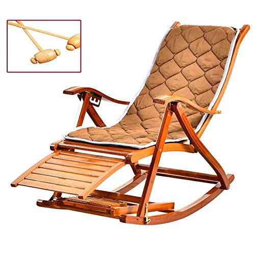 Recliners Rocking Chair Bamboo with Cushion, Break Chair Chair Solid Wood Rocking Chair Lazy Chair Folding Chair Sun Loungers for Outdoor Indoor Garden Patio Balcony Porch