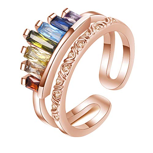 LICHENGTAI S925 Double Band Rainbow Ring, Adjustable Wide Band Stacking Rainbow Rings Geometric Anniversary Promise Ring Colorful Rings Best Gift for Daughter Girl and Bestie