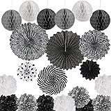 *DODUOS 21 *pcs Ventalls de Paper Flores de Pompons Bola de Niu Decoració de la Festa per a Penjar Decoració per a Aniversari Noces Carnestoltes Negre Blanc i Gris
