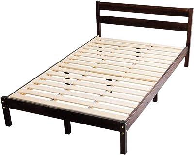 アイリスプラザ ベッド ベッドフレーム セミダブル おしゃれ パイン材ベッドフレーム ブラウン セミダブルベッド PWBX-SDBN