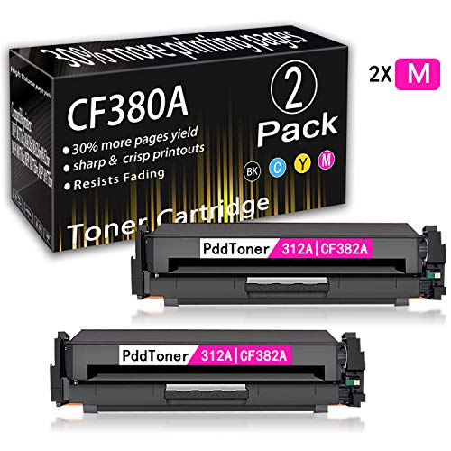 2-Pack Magenta 312A | CF383A Remanufactured Toner Cartridge Replacement for HP Laserjet MFP M476dw MFP M476dn MFP M476nw Toner Cartridge,by PddToner