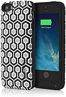 iPhone 5s Battery Case, Incipio offGRID Geometric Battery Case [2000 mAh] fits iPhone 5, iPhone 5s, iPhone SE - White/Gray