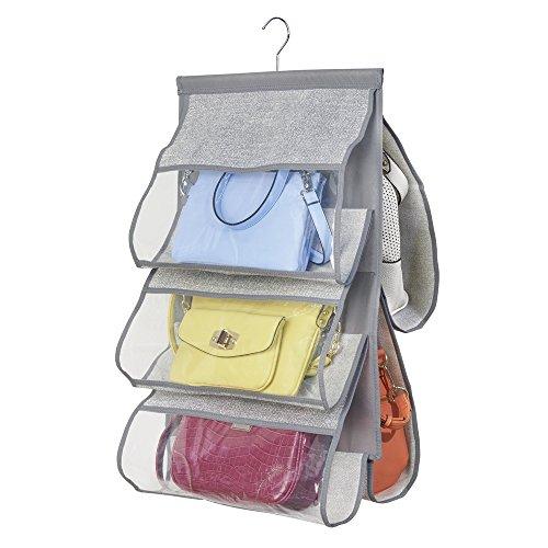 mDesign – Organizador de Bolsos para Armario con 5 Compartimentos – Organizador de Tela para Colgar – Colgador de Armario para Guardar Accesorios – Color Gris