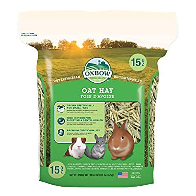 Oxbow Animal Health Oat Hay - All Natural Hay for Rabbits, Guinea Pigs, Chinchillas, Hamsters & Gerbils - 15 oz. by Oxbow Animal Health LLC