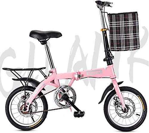 Klapprad Schüler Fahrrad Single Speed Scheibenbremse Erwachsene Compact Faltbare Fahrrad-Gänge Faltsystem Ampel komplett montiert Bicicletas de carretera,Rosa,14inch