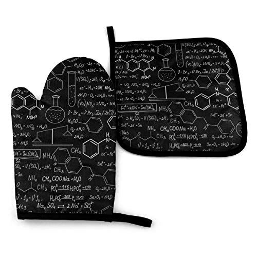 Oven Mitt & Pot Holders Set,Abstract Science Chemistry Illustration 3D Kitchen Heat Resistant and Washable Grilling and BBQ Decorative
