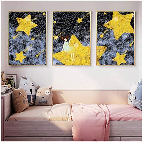 BICHENGGONGFBH Cartoom Meteor Shower Girl Poster Nursery Baby Wall Art Quadri su Tela Baby Room Decoration 60x80cm Senza Cornice Gialla