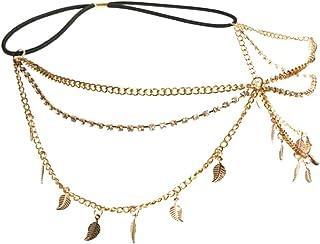 Xinlie Cadena de la joyería del pelo de Gatsby Cadena chispeante Joyería de la cadena de la cabeza de Bling Cristal Rhines...