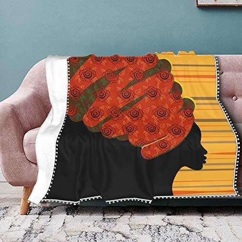 WYYWCY Couchüberwürfe für Sofa African Woman Tribal Ethnic Life Comfort Decke Soft Cosy Warm Decken mit Pompon Fransen für Couch, Bett Camping, Reise-alle Jahreszeiten geeignet