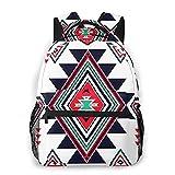 Mochila de viaje, bolso de hombro, azul, triángulo, navajo, azteca, patrón grande, colorido, geométrico, nativo americano, maya, todas las estaciones, unisex, de gran capacidad, duradero, para la e