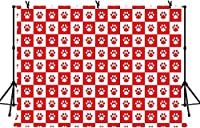 HD 10x7ft犬の足印刷背景赤と白グリッド屋内パーティーテーブルクロス装飾ベビーシャワー写真背景LYZY01012
