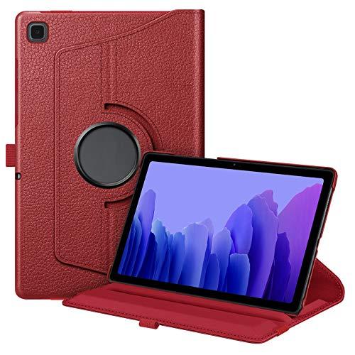 FINTIE Funda Giratoria para Samsung Galaxy Tab A7 10.4' 2020 - Rotación de 360 Grados Carcasa con Auto-Reposo/Activación para Modelo SM-T500/T505/T507, Rojo Amapola
