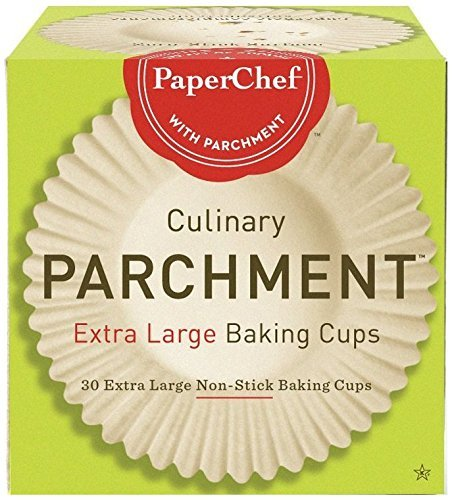 PaperChef (2 Pack) Extra Large Paper Cupcake Liners/Baking Cups, 30-ct/Box, Оne Расk, Tan