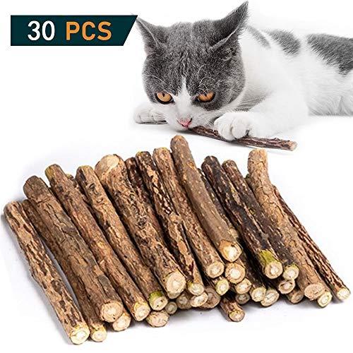 OneBarleycorn - Palitos de Catnip para Gatos, Juguete para morder para Gatos 100% orgánico Natural Matatabi Dental Treats, Paquete de 30 Unidades