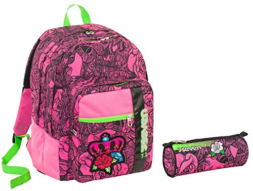 Seven School Backpack Outsize Pen Holder - Roses Girl - Pink - 33 LT - Reflective Inserts