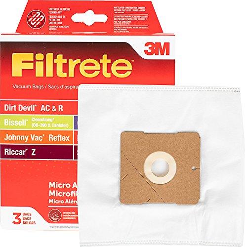 3M Filtrete Dirt Devil AC & R/Bissell GE Canister/Johnny Vac Reflex/Royal R/Riccar Z/Simpllcity Z MicroAllergn Synthetic Pkg Vacuum Bag